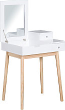 HOMCOM MDF,Pine Dressing Table Desk Flip-up Mirror