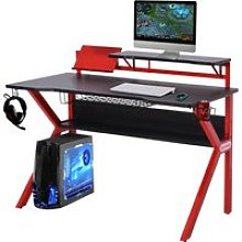 HOMCOM MDF Spacious Gaming Desk w/ Cup Holder Red