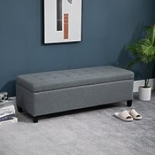 HOMCOM Microfibre Upholstered Tufted Ottoman Grey