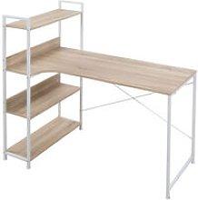 HOMCOM Minimalistic Computer Desk w/ 3 Side Shelf
