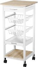 HOMCOM Mobile Rolling Kitchen Island Trolley for