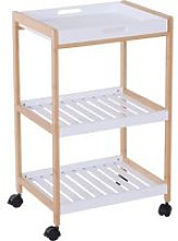 HOMCOM Mobile Serving Trolley Kitchen Cart Bamboo