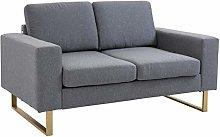 HOMCOM Modern Double 2 Seat Sofa Compact Loveseat