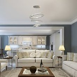 HOMCOM Modern LED Chandelier with 3 Crystal Rings,