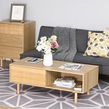 HOMCOM Modern Wood Coffee Table with Compartment