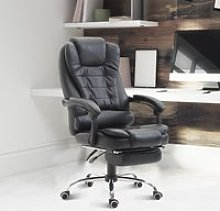 HOMCOM Office Chair Executive Leather High Back Swivel Computer Gaming Racing Chair W/Retractable Footrest-Black