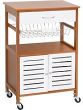 HOMCOM Pine Wood Rolling Kitchen Storage Island