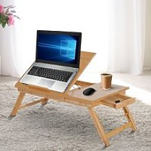 HOMCOM Portable Bamboo Laptop Desk-Bamboo