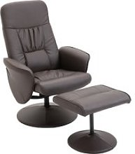 HOMCOM PU Leather Recliner Armchair & Footrest 2