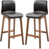 HOMCOM PU Leather Set of 2 Bar Stools w/ Footrest