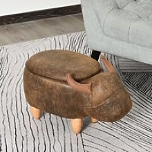 HOMCOM PU Leather Upholstered Cow Storage Stool