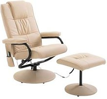 Homcom Recliner Massage Armchair: Cream-White