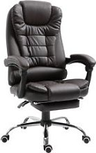 HOMCOM Recliner PU Office Chair Executive Leather High Back Swivel W/Footrest-Brown