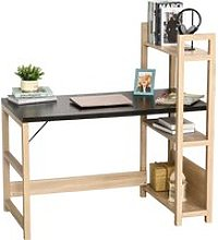 HOMCOM Rectangle Desk with 3-Tier Book Shelf Wide