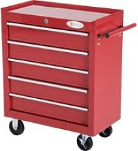 HOMCOM Roller Tool Cabinet, 5 Drawers-Red