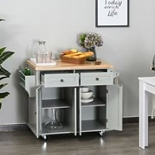 HOMCOM Rolling Kitchen Island Storage Trolley with Rubber Wood Top, Spice Rack, Towel Rack & Drawers for Dining Room, Grey