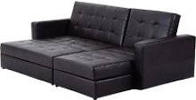 HomCom Sectional Sofa Bed Storage Convertible