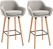 HOMCOM Set Of 2 Linen Bar Chairs Tub Style w/
