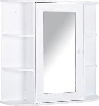 HOMCOM Single Door On-Wall Bathroom w/ Mirror Shelves Storage Organiser
