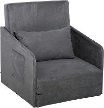 HOMCOM Single Sofa Bed Armchair Soft Floor Sleeper