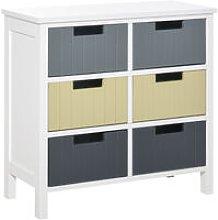 HOMCOM Six-Drawer Vintage Storage Cabinet Unit