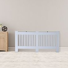 HOMCOM Slatted Radiator Cover Painted Cabinet MDF