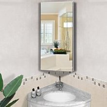 HOMCOM Stainless Steel Bathroom Corner Mirror