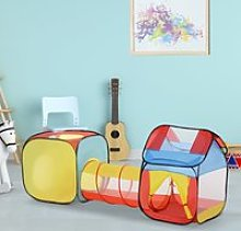 HOMCOM Toddler Polyester 3 in 1 Pop Up House Tent