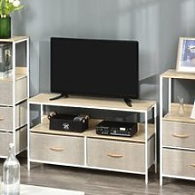 HOMCOM TV Cabinet, TV Console Unit with 2 Foldable Linen Drawers, TV Stand with Shelving for Living Room, Entertainment Room, Maple Wood Effect
