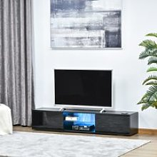 HOMCOM TV Stand Cabinet with High Gloss Front