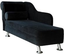 HOMCOM Velvet Chaise Lounge-Black