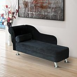 HOMCOM Velvet Chaise Lounge-Black