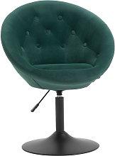 HOMCOM Velvet-feel Dining Chair Retro Tub Height