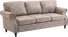 HOMCOM Vintage PU Leather 3-Seater Sofa Retro w/