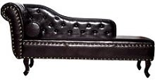 Homcom Vintage Style PU Leather Chaise Lounge-Dark