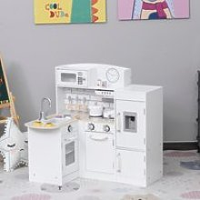HOMCOM White Kids Kitchen Play Cooking Toy Set for