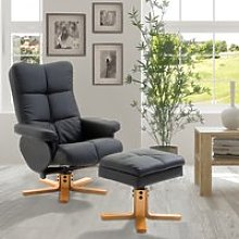 HOMCOM Wooden Recliner PU Leather Chair Adjustable