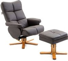 HOMCOM Wooden Recliner PU Leather Chair W/