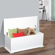 HOMCOM Wooden Storage Box Clothes Toy Chest Bench Seat Ottoman Bedding Blanket Trunk Container with Lid - White
