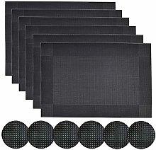 Homcomodar Black Placemats and Coasters Set of 6