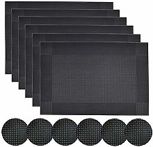 Homcomodar Black Placemats and Coasters Set of 6