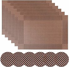 Homcomodar Brown Table Place Mats and Coasters