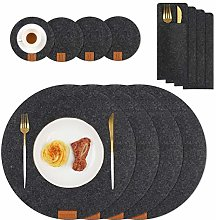 Homcomodar Felt Placemats 35cm Round Table Place
