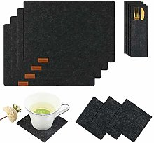 Homcomodar Felt Placemats Set of 4 with Coasters