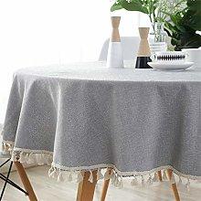 Homcomodar Grey Round Table Cloth in Cotton and