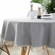 Homcomodar Grey Round Table Cloth in Cotton and