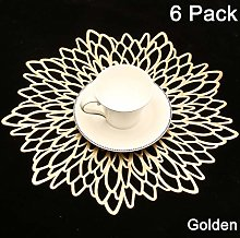 Homcomodar Placemats 6 Pack Gold Metallic Round