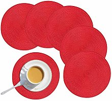 Homcomodar Round Placemats set of 6 Washable Table