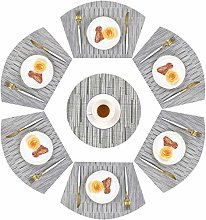 Homcomodar Round Placemats Silver Grey Washable
