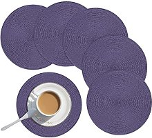 Homcomodar Round Table Place Mats Set of 6 Purple